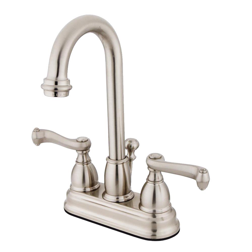 Kingston Brass KB3618FL 4 in. Centerset Bathroom Faucet, Brushed Nickel