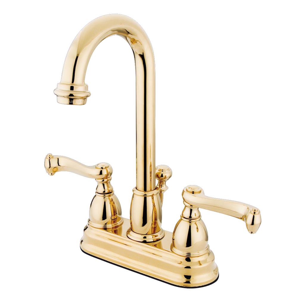 Kingston Brass KB3612FL 4 in. Centerset Bathroom Faucet, Polished Brass