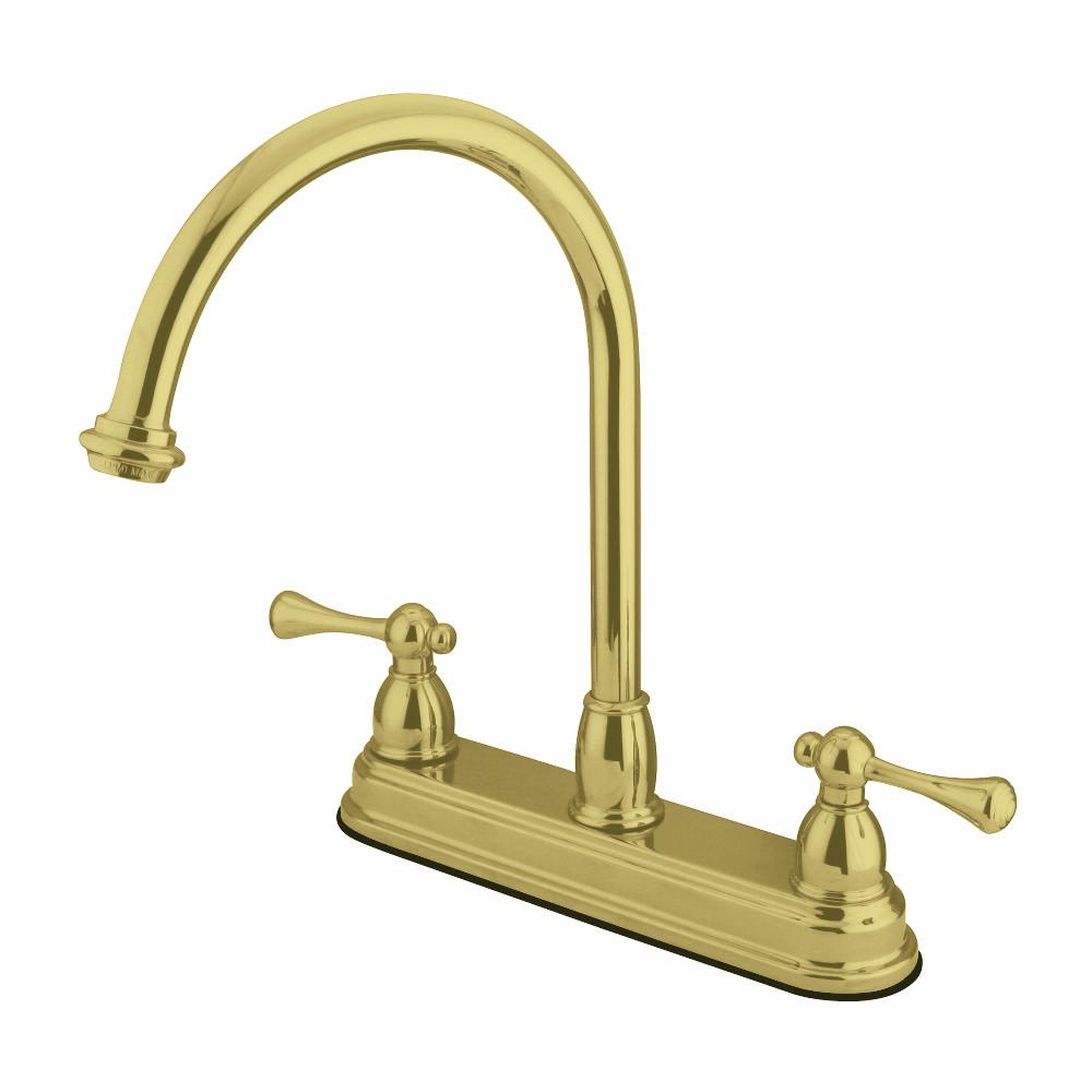 Kingston Brass KB3742BL 8-Inch Centerset Kitchen Faucet, Polished Brass