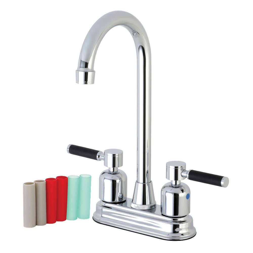 "Kingston Brass FB491DKL Kaiser 4"" Centerset High-Arch Spout Bar Faucet, Polished Chrome"