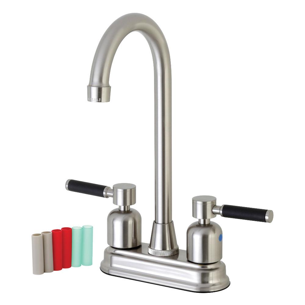 """Kingston Brass FB498DKL Kaiser 4"""" Centerset High-Arch Spout Bar Faucet, Brushed Nickel"""