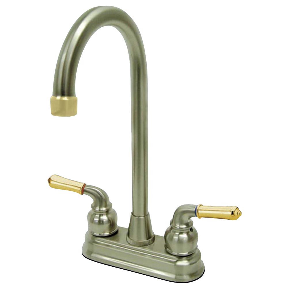 """Kingston Brass KB499 Magellan Two-Handle 4"""" Centerset Bar Faucet, Brushed Nickel/Polished Brass"""