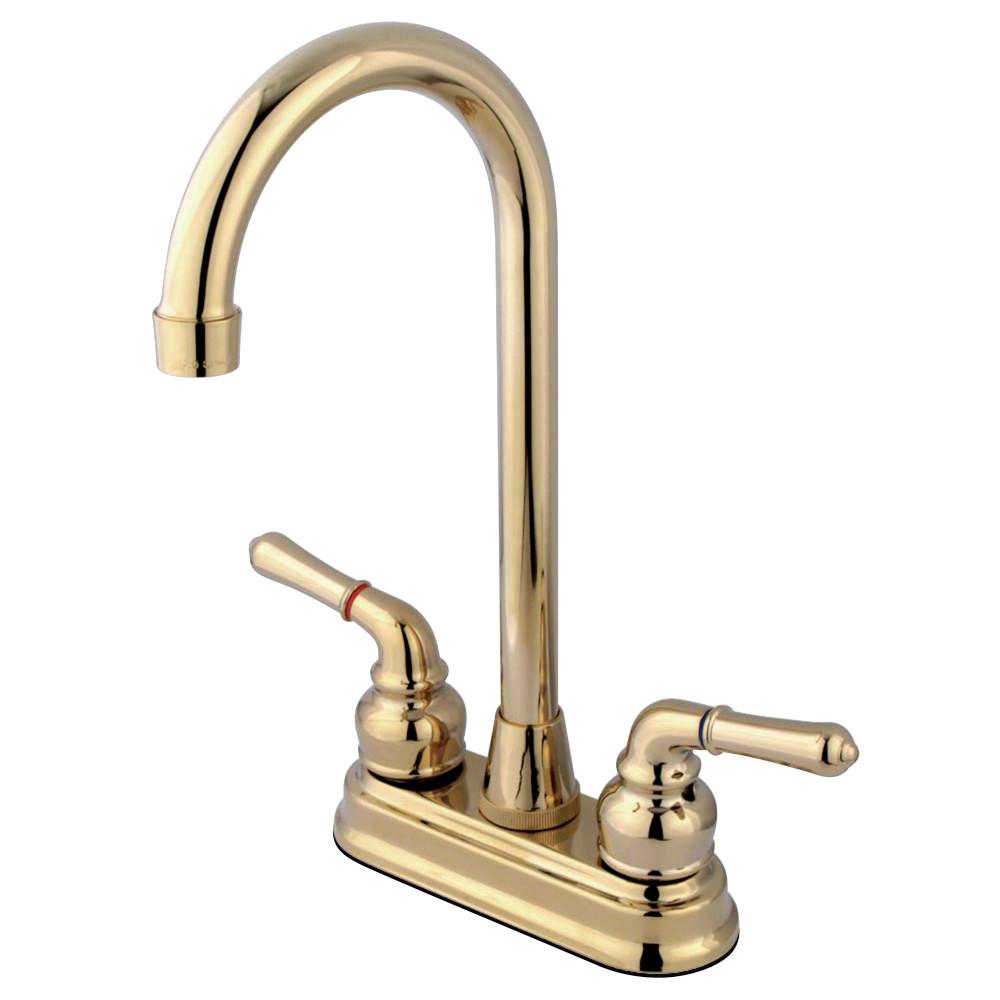 "Kingston Brass KB492 Magellan Two-Handle 4"" Centerset Bar Faucet, Polished Brass"