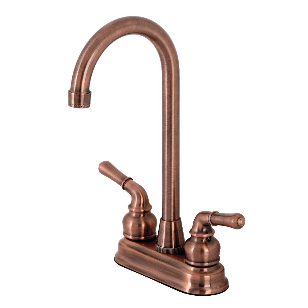 "Kingston Brass KB496 Magellan Two-Handle 4"" Centerset Bar Faucet, Antique Copper"