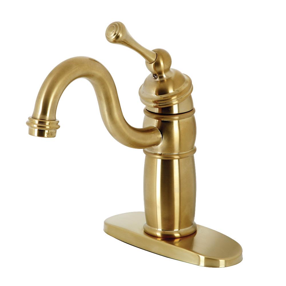 Kingston Brass KB1487BL Vintage Single-Handle Monoblock Bar Faucet, Brushed Brass
