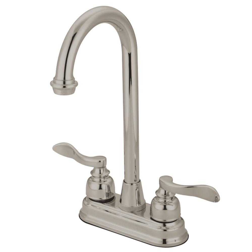 """Kingston Brass KB8498NFL NuWave French 4"""" Centerset Bar Faucet, Brushed Nickel"""