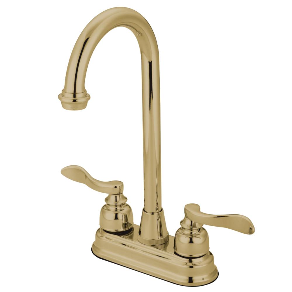 """Kingston Brass KB8492NFL NuWave French 4"""" Centerset Bar Faucet, Polished Brass"""