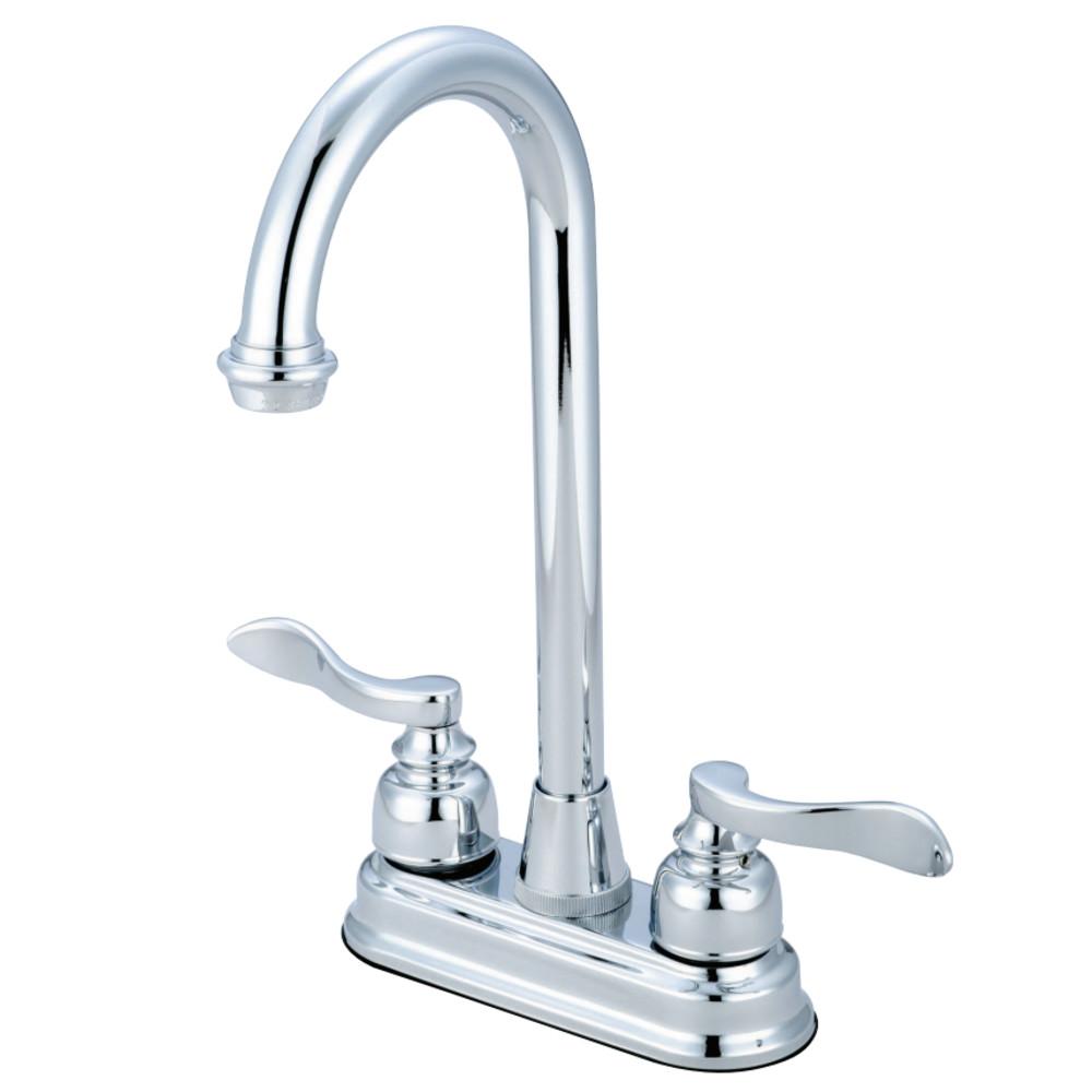 """Kingston Brass KB8491NFL NuWave French 4"""" Centerset Bar Faucet, Polished Chrome"""
