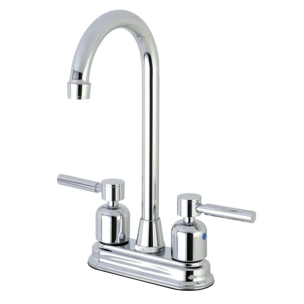 "Kingston Brass Concord FB491DL 4"" Centerset High-Arch Spout Bar Faucet, Polished Chrome"