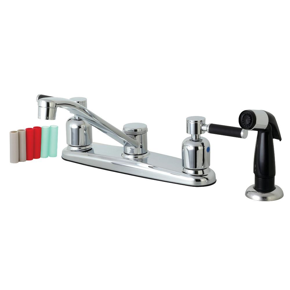 Kingston Brass FB112DKL Kaiser 8-Inch Centerset Kitchen Faucet with Sprayer, Polished Chrome