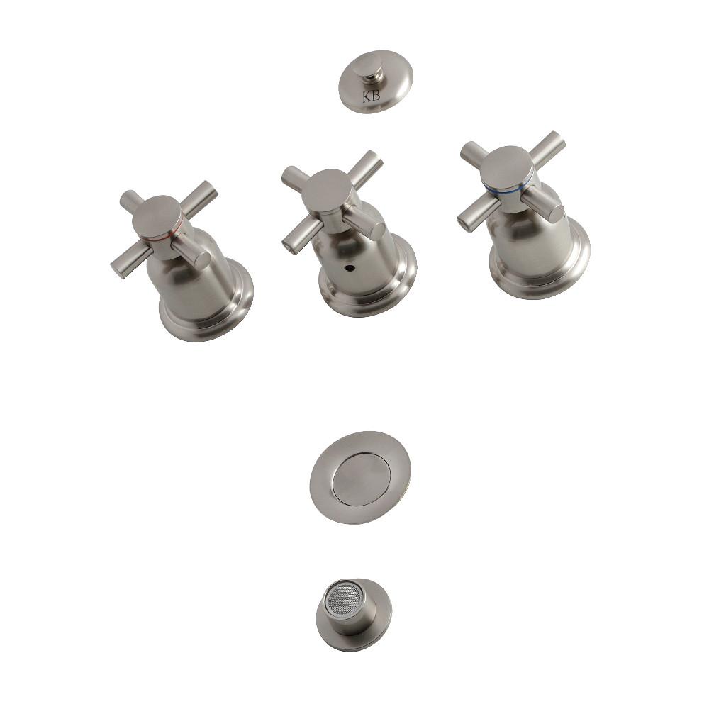 Kingston Brass Concord KB6328DX 3-Handle Bidet Faucet, Brushed Nickel