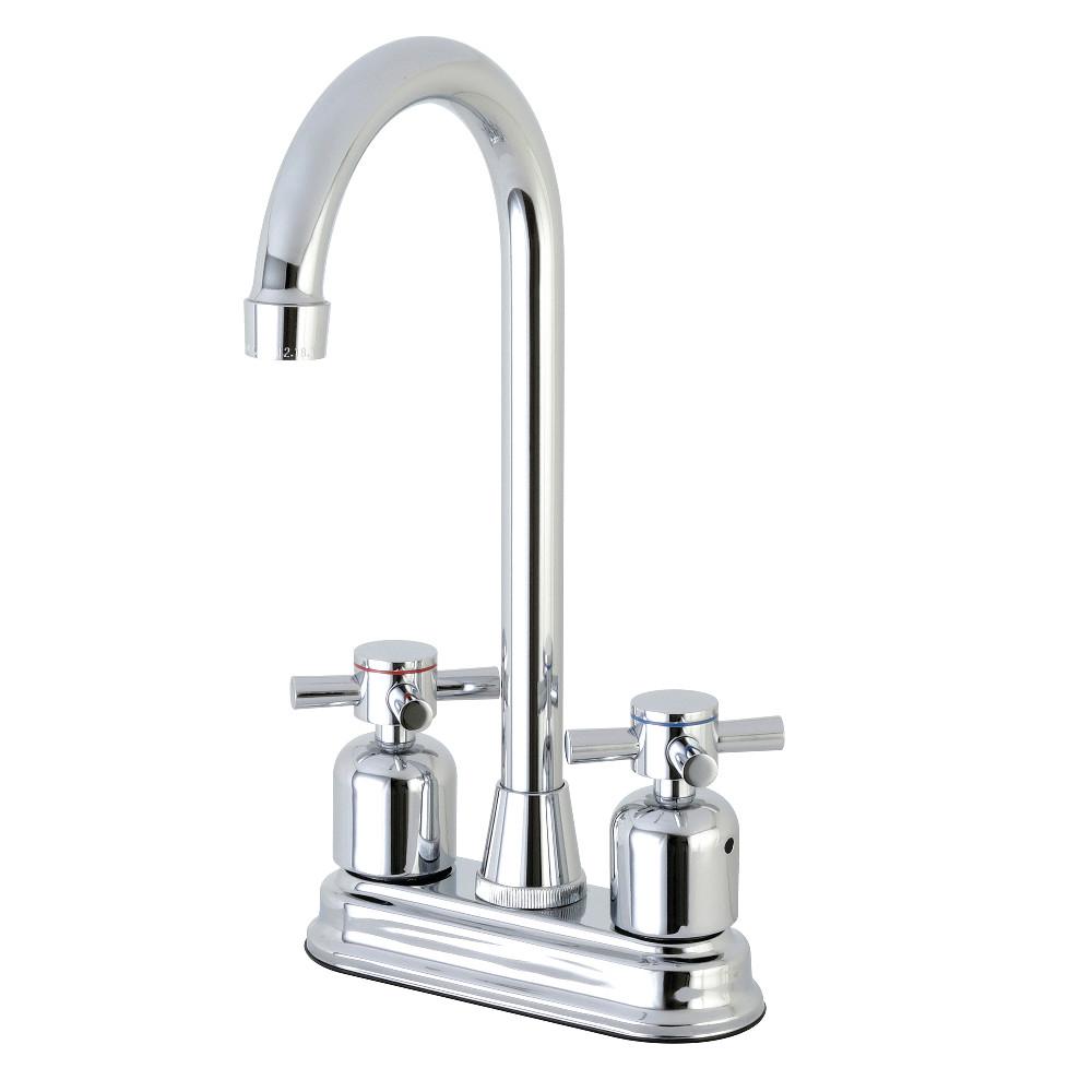 "Kingston Brass Concord FB491DX 4"" Centerset High-Arch Spout Bar Faucet, Polished Chrome"