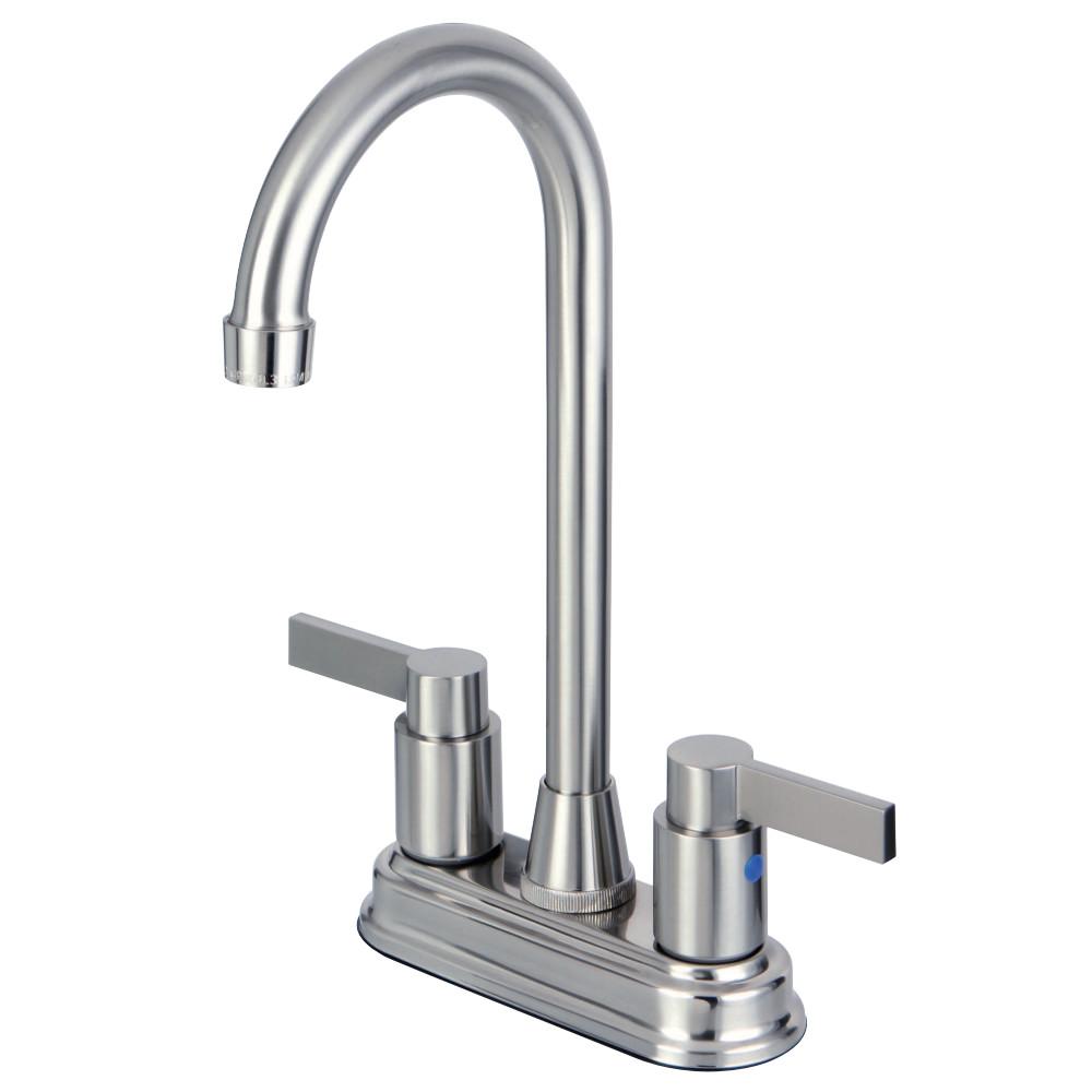"Kingston Brass KB8498NDL NuvoFusion 4"" Centerset Bar Faucet, Brushed Nickel"