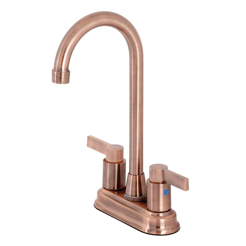 "Kingston Brass KB849NDLAC NuvoFusion 4"" Centerset Bar Faucet, Antique Copper"