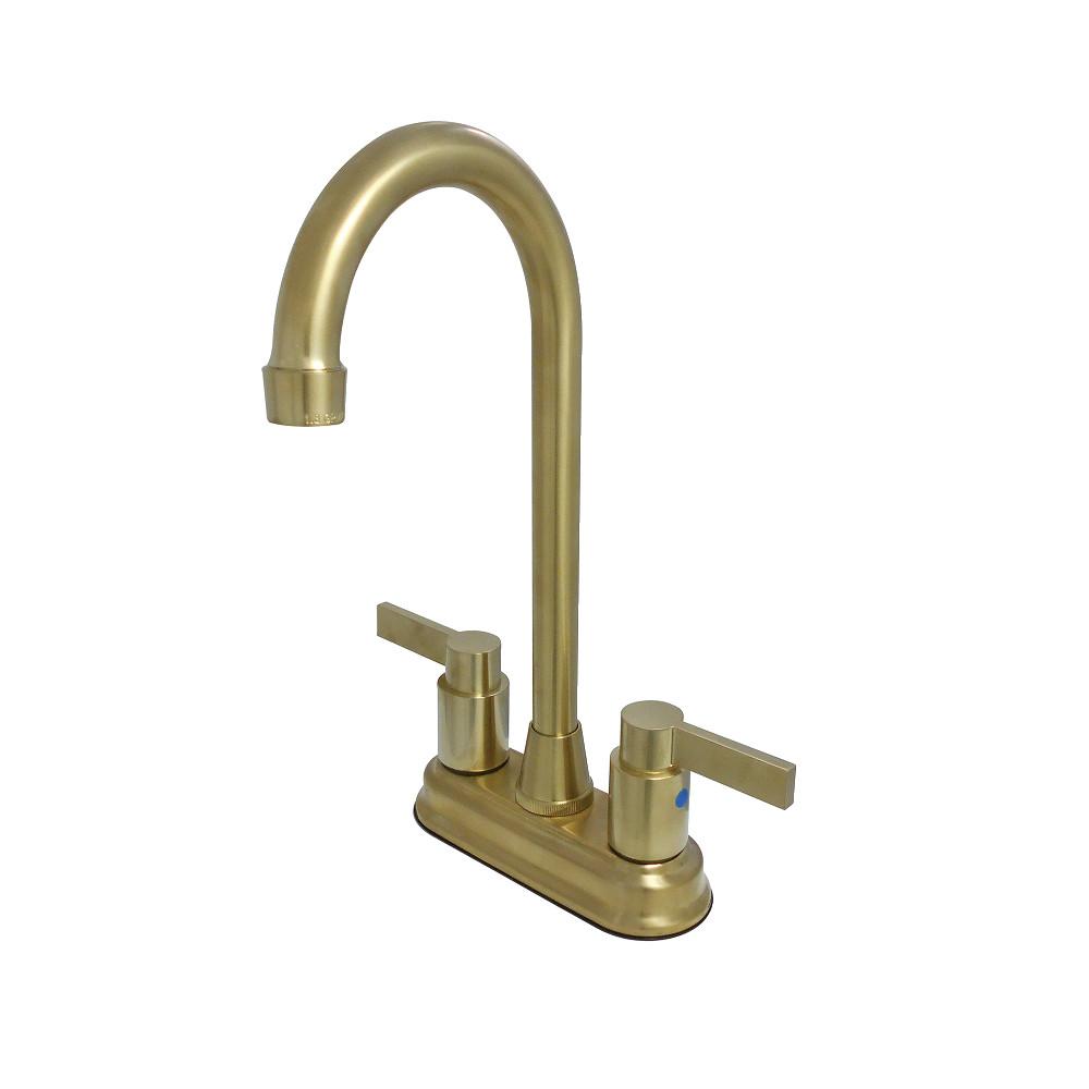 "Kingston Brass KB8497NDL NuvoFusion 4"" Centerset Bar Faucet, Brushed Brass"
