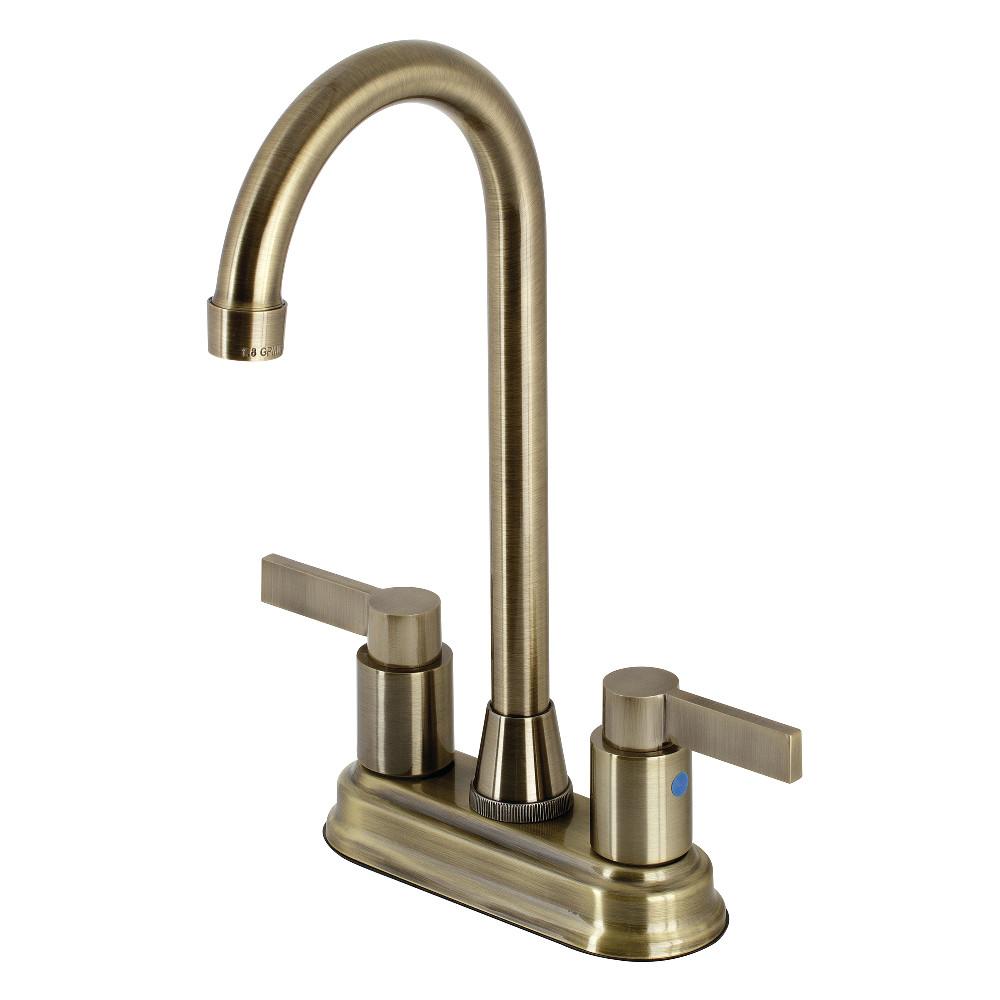 "Kingston Brass KB8493NDL NuvoFusion 4"" Centerset Bar Faucet, Antique Brass"