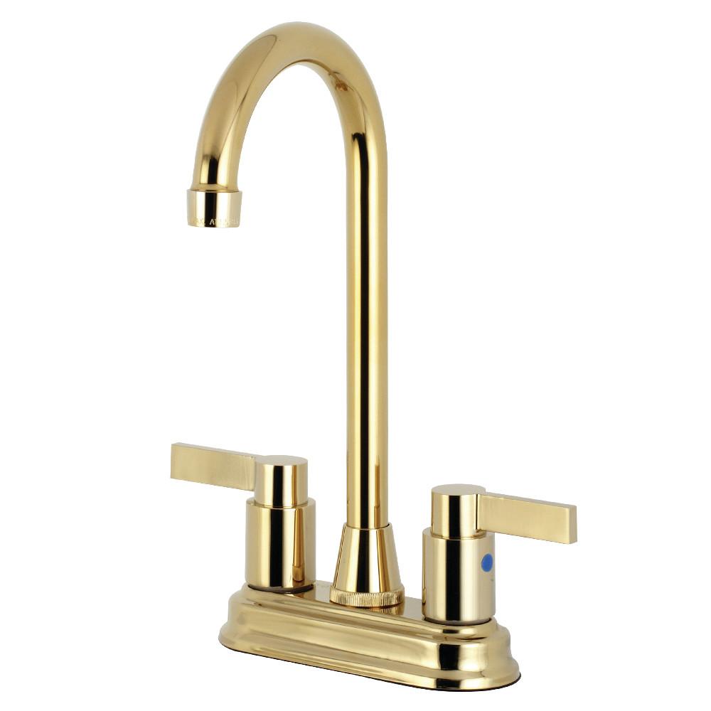 "Kingston Brass KB8492NDL NuvoFusion 4"" Centerset Bar Faucet, Polished Brass"