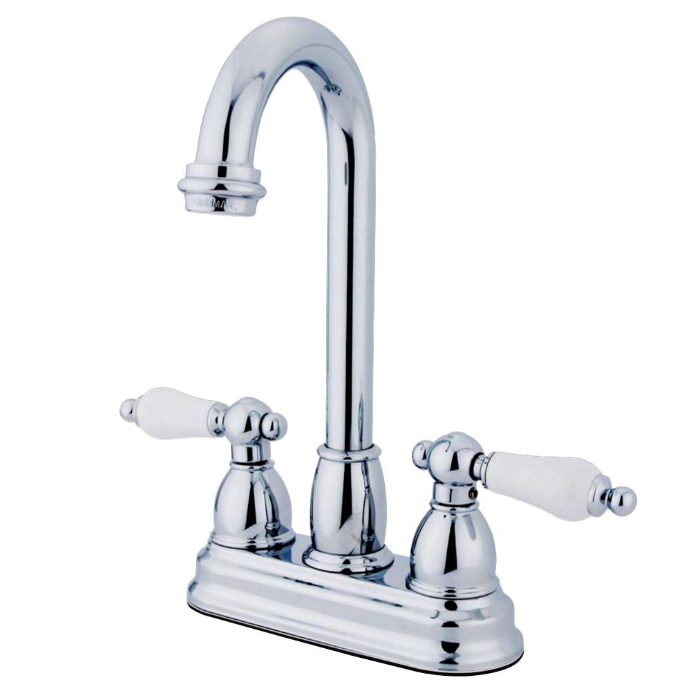 """Kingston Brass KB3491PL Restoration 4"""" Centerset Bar Faucet, Polished Chrome"""