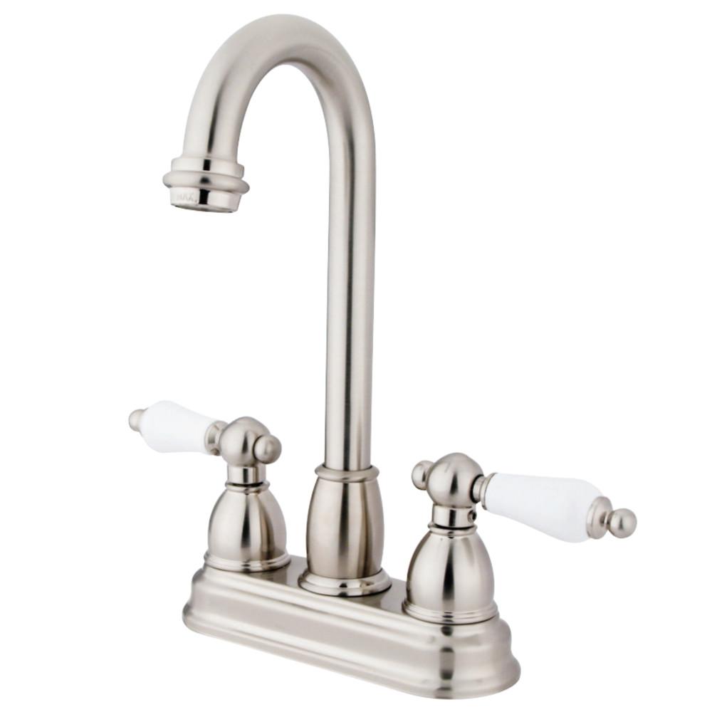 """Kingston Brass KB3498PL Restoration 4"""" Centerset Bar Faucet, Brushed Nickel"""