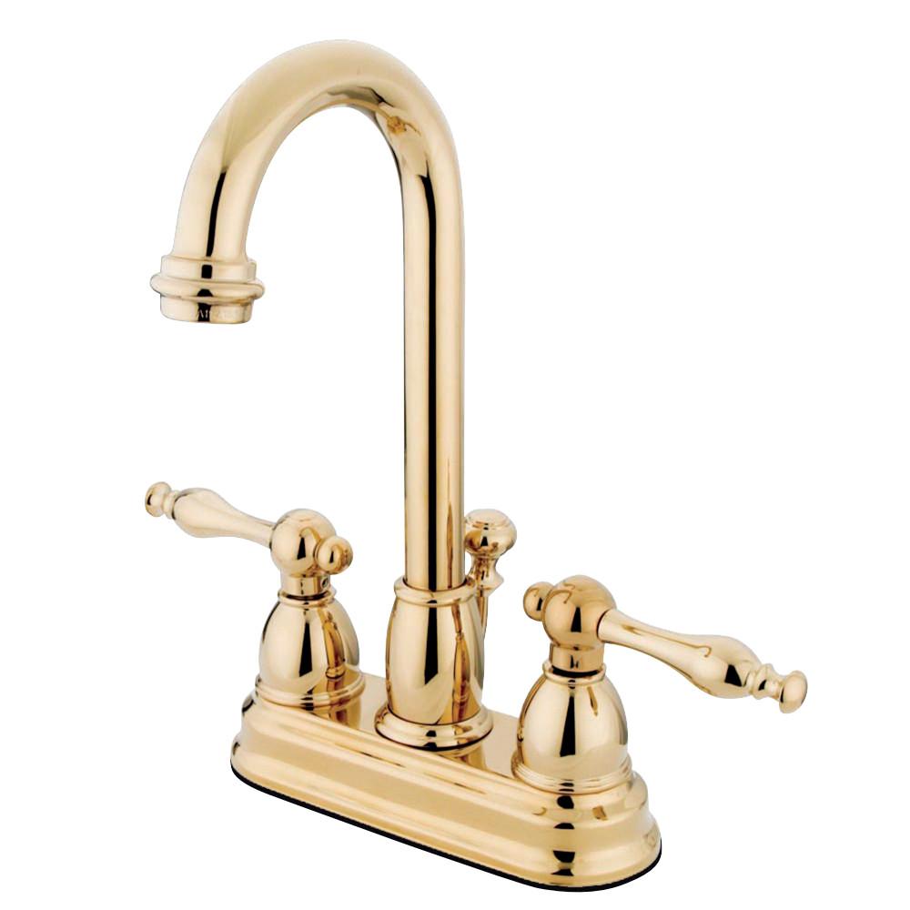 Kingston Brass KB3612NL 4 in. Centerset Bathroom Faucet, Polished Brass
