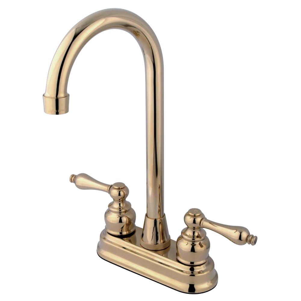 "Kingston Brass KB492AL Victorian 4"" Centerset High Arch Bar Faucet, Polished Brass"
