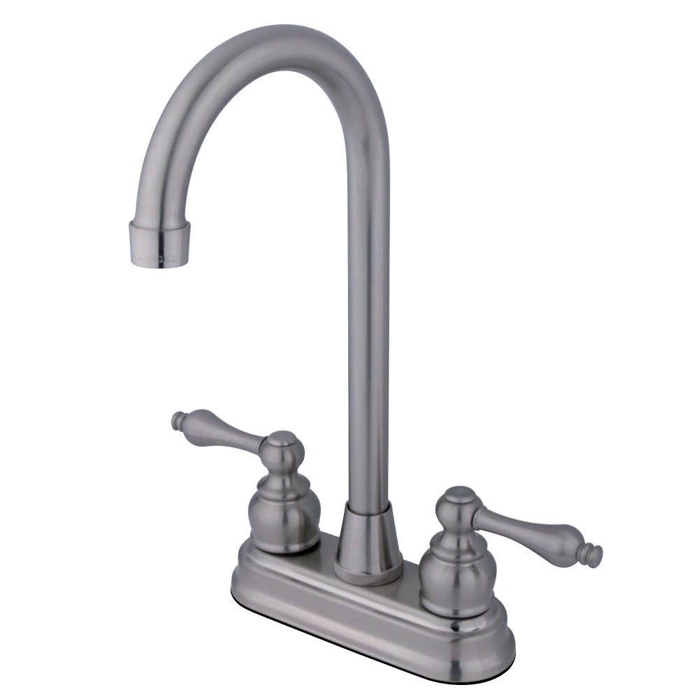 "Kingston Brass KB498AL Victorian 4"" Centerset High Arch Bar Faucet, Brushed Nickel"