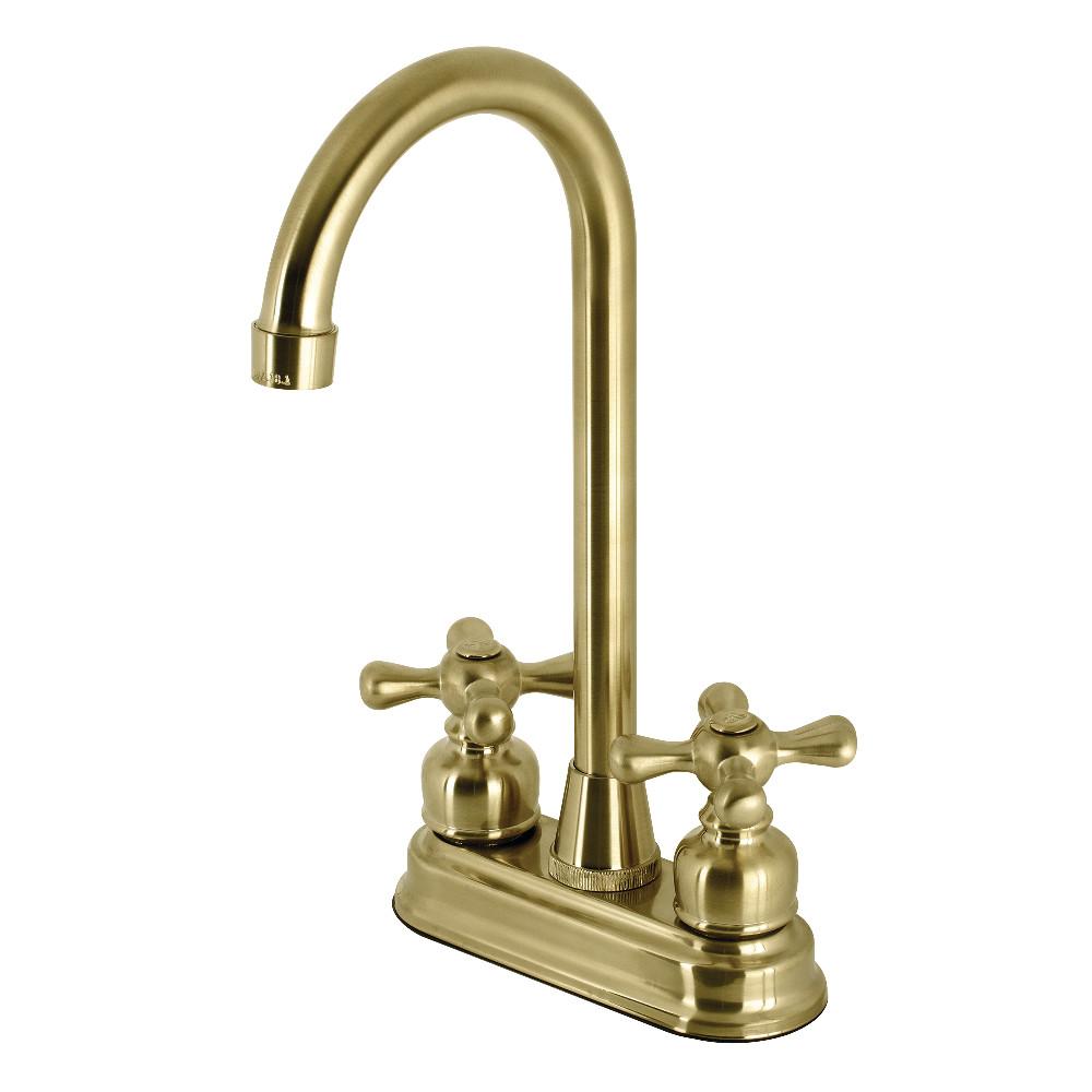 Kingston Brass KB497AXSB 4-Inch Bar Faucet, Brushed Brass