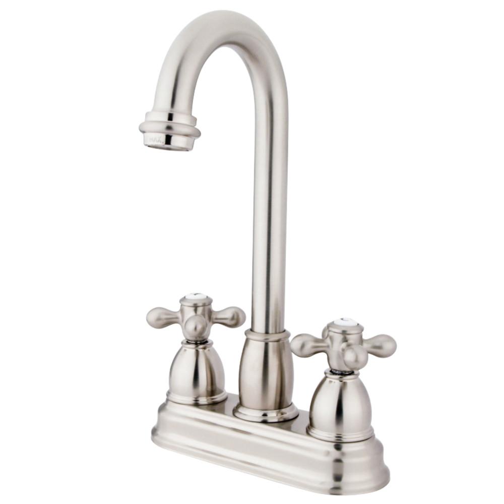 "Kingston Brass KB3498AX Restoration 4"" Centerset Bar Faucet, Brushed Nickel"