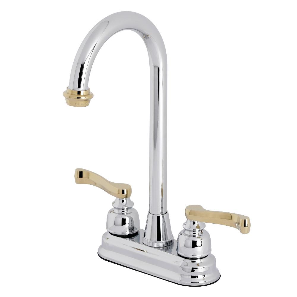 Kingston Brass KB8494FL Bar Faucet, Polished Chrome/Polished Brass