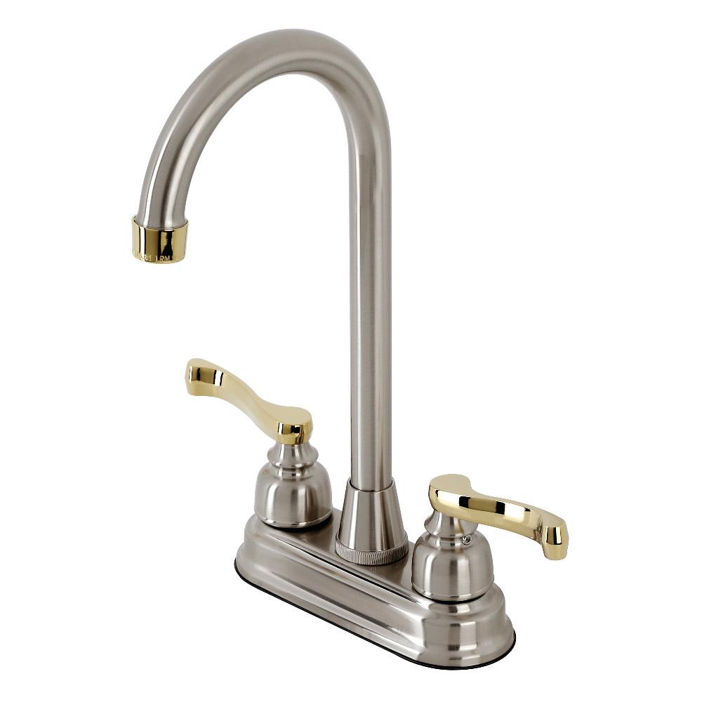 Kingston Brass KB8499FL Bar Faucet, Brushed Nickel/Polished Brass