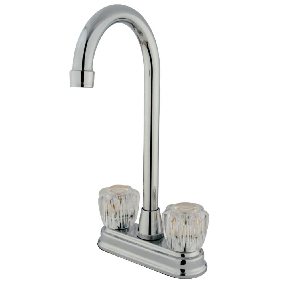 "Kingston Brass KB491AC Magellan 4"" Centerset Bar Faucet Acrylic Handle, Polished Chrome"