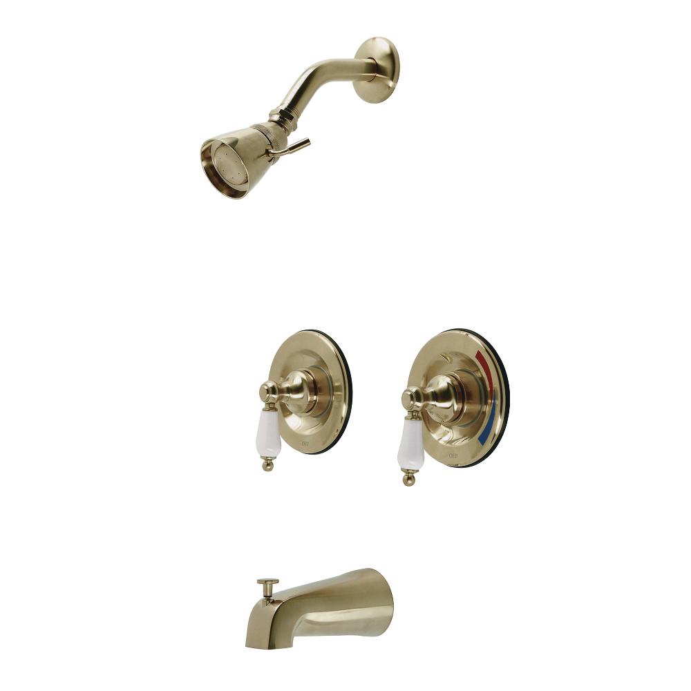 Kingston Brass KB667PL Vintage Tub and Shower Faucet, Brushed Brass
