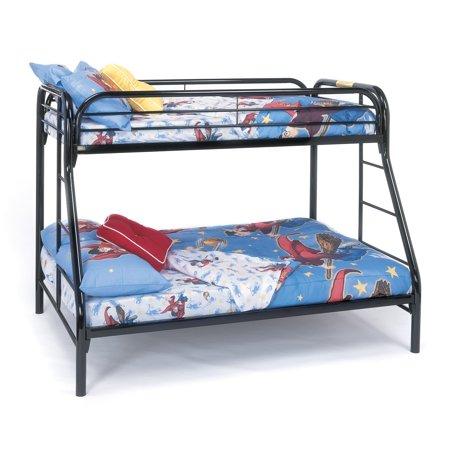 Metal Twin/Full Bunk Bed, Black