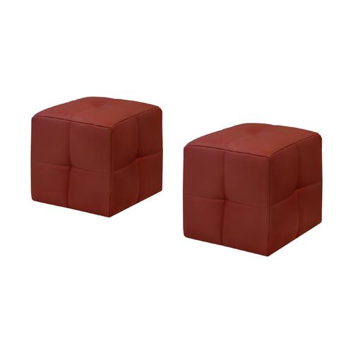 2 Piece Juvenile Ottoman Set, Red Leather-Look