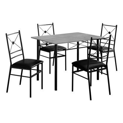 DINING SET - 5PCS SET / GREY / BLACK METAL