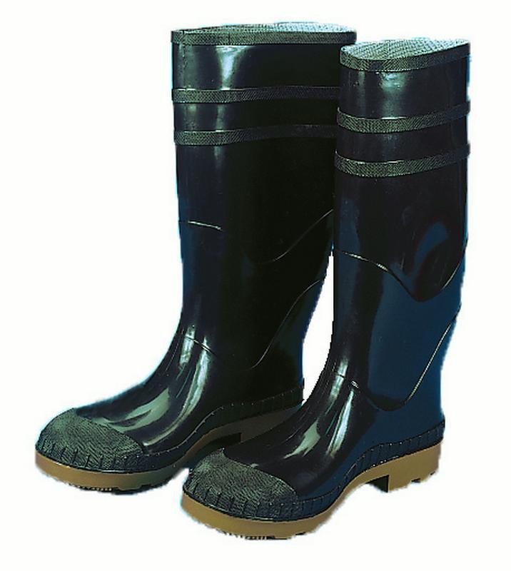 16 in. PVC Work Boot Over The Sock, Black Plain Toe, Size 7
