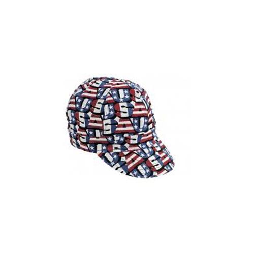 "Kromer Red White Blue USA Style Welder Cap, Cotton, Length 5"", Width 6"""