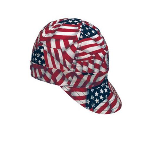 """Kromer USA Flag Style Welder Cap, Cotton, Length 5"""", Width 6"""""""