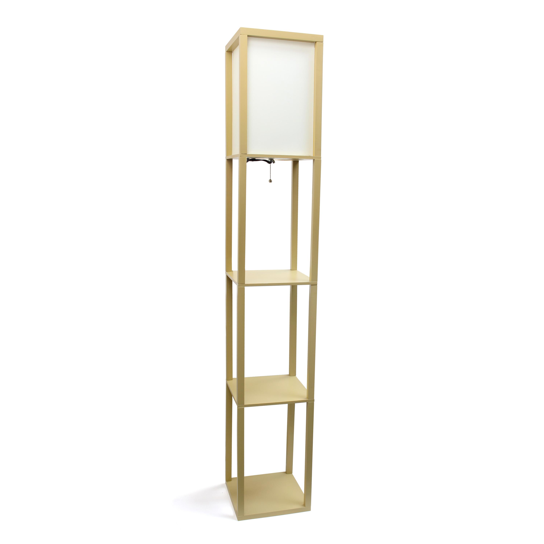 Simple Designs Floor Lamp Etagere Organizer Storage Shelf with Linen Shade, Tan