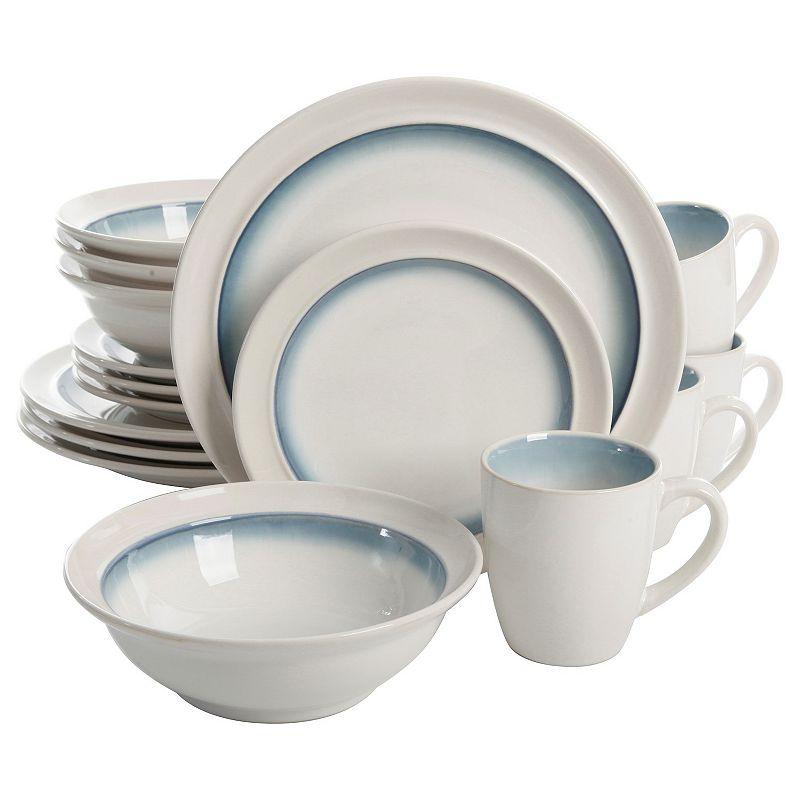 GE Lawson Dinnerware White Teal 16pc