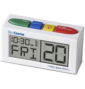 MEDCENTER 70210 TALKING ALARM CLOCK AND MEDICATION REMINDER