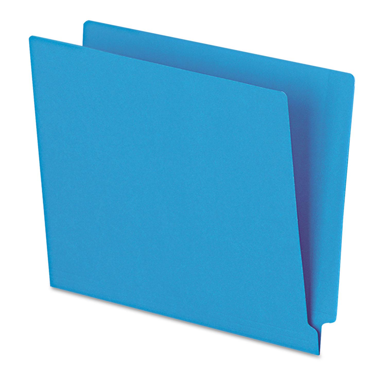 Reinforced End Tab Folders, Two Ply Tab, Letter, Blue,  100/Box