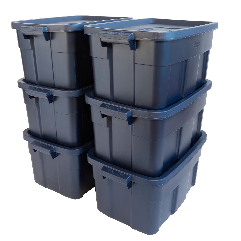 Roughneck Storage Box, 15 7/8w x 23 7/8d x 12 1/4h, Dark Indigo Metallic
