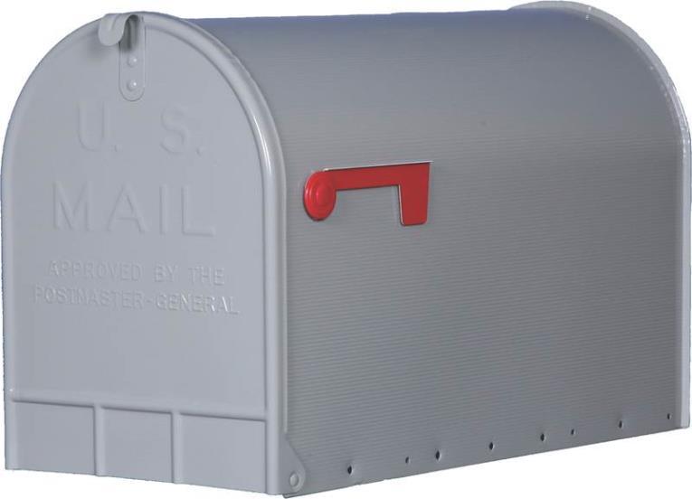 Gibraltar ST200000 Jumbo Rural Mail Box, 15-1/4 in W x 12 in D x 24-1/8 in H, Gray
